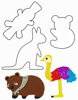 CARD – AUSTRALIAN ANIMAL SHAPES (20pk)