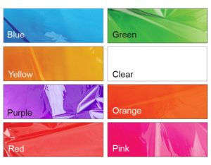 CELLOPHANE – SINGLE COLOURS – 90CM X 100CM (25pk)