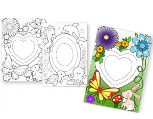 CARD – PATTERNED PICTURE FRAMES – OVAL & HEART CUT OUT (10pk)