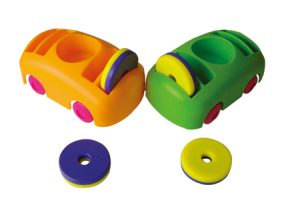 BUMPER CARS & RING MAGNETS (Set of 2 Cars & 4 Ring Magnets)