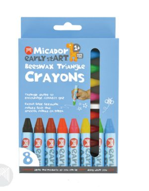 MICADOR – EARLY START – BEESWAX TRIANGLE CRAYONS – ASSORTED COLOURS (8pk)